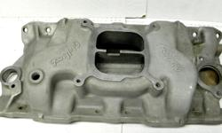Vintage Edelbrock C3B aluminum performer styed Dual Plane high-rise small block Chevy four-barrel intake manifold ,Great upgrade in throttle response from idle to 5500 RPM, original, clean condition, This intake manifold is compare to 327-350HP 64 65 66
