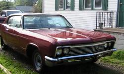 1966 caprice for sale, interior has been redone completely exterior needs minor work for restoration, has  a 283 engine with a powerglide transmission  car runs great.$2500  or make me an offer