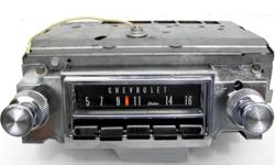 1966 Chevrolet Impala Super Sport, Caprice, Bel Air, Biscayne original AM Delco radio deluxe pushbutton, very clean dial face, bright shiny chrome, clean and original metal housing, with made in Canada tag, Model #986545, outer & inner knobs, I've tested
