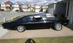 For sale 68 Impala fast back. Car had a Appraisal of $14 grand in 2010.(.not including tax) By Moors Appraisal Service.Would be happy with 8500 or reasonable offers.... It was brought from California in mid 80's.  Never winter driven. It has small block..