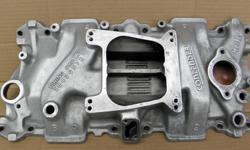 Very Nice Holley aluminum intake manifold Contender model #701R-38 & 300-38 dual-plane for Chevrolet small block from 1969 to 1986. Great upgrade in throttle response from idle to 5500 rpm and reduced weight from stock cast iron unit direct replacement,