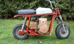 Vintage Broncco mini bike ,,Built by Fantic Motors ..5 Hp. Briggs , recently tuned  , New chain  New solid state coil ,,$280.oo  FIRM  !!!