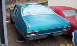 1970 nova, 2 door project car, P/S, P/B, 3speed auto on coloum ,10 bolt diff ,hood louvers, ss trim, new quarter panel ,rust free floors and trunk. No engine or trans.