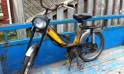 Motobecane Cady moped that was sold by Canadian Tire in the 1970s It was left over after my uncle passed away but someone threw out the motor before i was able to get the moped. Have good memories of using it but don't have time or money to resort. Make