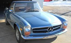 1971 Mercedes-Benz 280SL convertible, includes both hardtop and softtop, recent full strip to bare metal, and repaint to the highest level with many coats of the original 906 grayblue Glasurit metallic paint/clearcoat , the body is perfectly straight, not