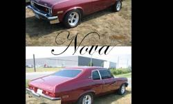 This is my 1973 Chevy Nova Hatchback 43000miles on the body 3000 kms on the engine 89 block 350 0.30 over domed pistons, mild race cam, roller rockers port and polished 1969 power pack ( double camel hump ) heads, Air Gap Intake, 650 Holley carb. Headers