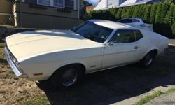 Make Ford Colour White Trans Automatic kms 110000 1973 Ford Mustang Fastback. 351 Cleveland, 4-barrel carb, 3sp auto, number matching, rebuilt drivetrain, posi rear-end, partially restored. Runs well with good tires.