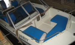 15.5 ft. Larson Tri-Hull Bowrider boat with 65HP Evinrude outboard motor.  Seats 8 comfortably.   Boat needs some hull work and engine needs carburetors cleaned.  Boat has been used sparingly and always stored in boathouse. Great fixer-upper!   Huntsville