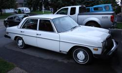 For sale, 1974 Mercedes 240 D. Red interior, white exterior. 4 speed manual, approx 54,000 kms. Appraisal done by Moore's last year. Please reply or call 519 897 9058 to test drive! May accept trade for Bombardier Iltis, ATV, Jet ski, or snowmobile