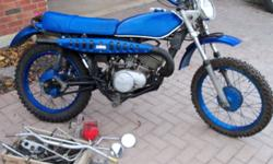 Vintage '75 Suzuki Enduro 185, in really descent shape, needs battery,& having trouble keeping it running. Just don't have the time and need to make room in my garage. Great project bike with little to do. Great rubber and comes with enduro parts mirrors,