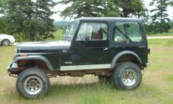 Make Jeep Year 1977 Colour black Trans Manual kms 100000 1977 jeep cj7 6cyl 2 bubble carb 4 speed manual 4x4 31.5 inch tire body lift has run 5 km last 4 years no winter last 20 years for road or parts , body and frame a1, there no plastic or rust on the