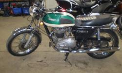 This has been stored in a garage for several years,all original,numbers match engine,have ownership and original manual,runs excellent,needs brake service,ft ft wheel needs true.This is a real nice bike.PETERBOROUGH CYCLE SALVAGE 705-742-6120
