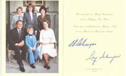 1979 and 1981 Rideau Hall Christmas cards for Governor General Ed Schruyer and famly. The 1979 card has been signed in ink by Ed and Lily Schruyer and both cards feature nice color photos inside. Asking only $20 for the pair of cards, would make a great