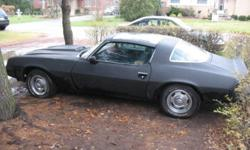 Garage stored 15 years, comes with original hood - T Top;  comes with flowmaster exhausts still in boxes, BF Goodrich radial tires, assorted spare parts, 305 with 350 Hurst Slapstick transmission, needs work.  Will trade for a small trailer(not pop