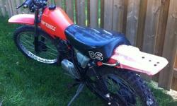 I have a 1979 Suzuki ds 125 cc 2 stroke, bike runs good, just put a new coil and did an oil change on the gearbox. Headlight even still works. It could use a tune up becouse it likes to bog out every now and then again but other then that its good. asking