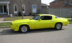1980 Camaro Z28 custom pearl yellow paint,cust made leather seats,new carpet,headliner.weather strip.Its a 4sp munci with a 355 chev dressed in chrome. Dart heads Vict intake Holley 750dp Cam electric fuel pump car sounds good. There is a complete sound