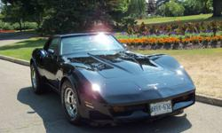 1980 2-door, with T-tops, Black , Corvette, L82,       Excellent Condition, Stored Indoors, Only driven in       Car Shows and Parades. New Tires, and Chrome Rims,        Well Maintained, Runs Great, Beautiful Shine, I call it          Black Beauty,