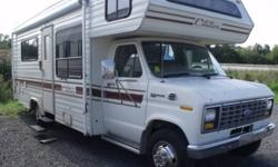 BEIGE/BROWN INTERIOR DECOR, REAR 3 PC BATH, SOFA, DINETTE, BUNK ABOVE DRIVER, FRIDGE, 4 BURNER RANGE, OVEN, OVERHEAD STORAGE CABINETS, AM/FM/CD, SPARE TIRE, REAR EXTERIOR LADDER, AWNING   This unit is sold AS IS and in not represented as being in a road