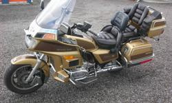 1985 Goldwing Limited Chrome Edition (gold in colour) excellent condition.  Has: computerizes fuel injection / deep side and back carriers / radio / foot boards /  highway pegs / trailer hitch.  To speak to someone call  613-433-3981 between 9 and 5:30.