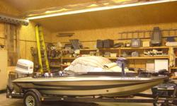 1985 Bass boat with rebuilt 150 HP Johnson motor,also 9.9 HP Johnson trolling motor,electric trolling front mount motor 12/24 volt ,all motors work great,new seat covers,c/w trailer,boat works great,fast and reliable,will consider trade for deep sided