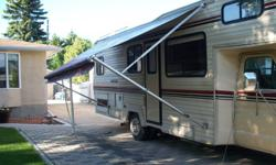 1986 Vanguard 27 ft Class C motorhome 4 new tires on rear front like new roof air awning microwave fridge stove furnace etc only 69000 original kms    $8900.00 OBO New safety.Free storage for winter included if desired       Ph  204 981-7622