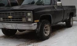 Make Chevrolet Year 1987 kms 173000 1987 chevy k10 350 tbi motor, cowl induction hood, power windows/locks, sunroof, equiped with ac but missing compressor, led taillights, truck has been restored not a spot of rust on it , 173000km $6000