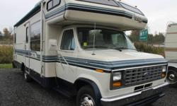 BLUE INTERIOR DECOR, REAR TWIN BEDS, DINETTE, BUNK ABOVE DRIVER, 2 X SWIVEL CHAIRS, SPLIT BATH, FRIDGE, 4 BURNER RANGE W/OVEN, MICROWAVE, AM/FM/CASSETTE, OVERHEAD STORAGE CABINETS, SPARE TIRE, REAR EXTERIOR LADDER, AWNING This vehicle is being sold AS IS