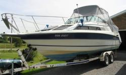 """Very well maintained 26' cruiser, 8' 6"""" beam, 5.7L. 250 hp Mercruiser, v-berth and aft cabin sleep 2 each, 2burner electric/alcohol stove, AC/DC frig., galley sink, fresh water tank, porti-potty with pumpout, sink in head, am-fm stereo cassette, VHF radio"""