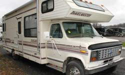 BEIGE EXTERIOR COLOUR, BLUE INTERIOR DECOR, REAR DOUBLE BED, DINETTE, 2 X SWIVEL CHAIRS, SPLIT BATH, DOUBLE BUNK ABOVE DRIVER, FRIDGE 4 BURNER RANGE W/OVEN, MICROWAVE, OVERHEAD STORAGE CABINETS, ONAN 4000 GENERATOR, REAR EXTERIOR LADDER, AWNING This unit