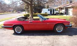 1990 Jaguar XJS V12 convertible.  Red with black top and camel interior.  Engine 5.3L.  Manufactured in England.  Excellent condition - 37,000 miles.  This vehicle came from Hawaii to Florida with 33,751 miles.  Never driven in winter.  4 wheel ABS.