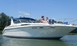 """Up for sale is a 1990 Searay Sundancer , 42 feet overall. New beige canvas, dual heat/ air conditioners, radar, auto pilot, extended swim platform, VHF, LCD TV, new clarion stereo, 10 """" colour Raytheon GPS/radar/auto pilot $8000 system.Twin 454 350 HP,"""