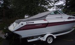 EXCELLENT CONDITION 4.3LX V6 205HP. MERCURUSIER 220 HOURS ON BOAT AND MOTOR CUDDY WITH WASHROOM NEVER USED LOTS OF EXTRAS TO GO WITH BOAT INCLUDING A SHORELANDER TRAILER
