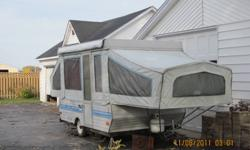 VERY GOOD CONDITION.   Pulls very easily by a Mini Van which is what I towed it home with and you never knew you were towing anything.   I bought this camper with full intentions of using it but have since become quite ill.   I paid $1,900.00 for it but I