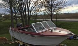 90 HP Evinrude with 16ft Crestliner Fiberglass V hull and trailer. Engine runs great, winterized every season. Electric trim works. Boat comes with fish finder, life jackets and accessories. Trailer lights and boat lights all work. Boat seats require