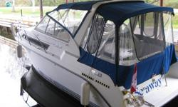 Well Equipped 1993 Carver 280 Express Cruiser. Single Mercruiser 7.4/454, Radar Arch, Full Canvas, Complete Marine Electronics and Full Galley with Roomy Aft Cabin. Very Low Hours and dealer maintained since new at Starport Marine Orillia. This Vessel is