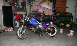 selling a 1993 pw 50 it has brand new plastics,gas tank and seat, also new piston and tires perfect starter bike. Also have training wheels $ 650.00 OBO