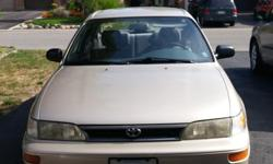 Make Toyota Colour Gold Trans Automatic kms 112225 1995 Toyota Corolla LE 4 Dr Sedan UN-Certified Best Offer to $1800 Vehicle in Mint condition(Motor) except for 2 rust spots over rear wheels. Owner has complete mechanical file from day 1 Oil changed