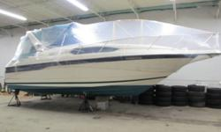one mature fussy owner and very low hours twin mercruiser 5.7 v8 with 250 hours. 2 state rooms private pump out head with shower,shore power,hot water,windlass ,vhf radio,gps with plotter, all camper canvas and carpets,sleeps 6 comfortably ,wide beam with