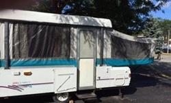 1996 Coleman Cheyenne Tent trailer for sale in great shape! A perfect trailer for families, with lots of space and storage room in a 12' box. Features: - 1 king size pull out bed, 1 queen size pull out bed - dining table folds down into sleeping bed -
