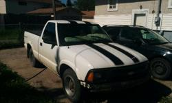 Make Chevrolet Model S-10 Year 1997 Colour White/black stripes kms 230000 Trans Manual Lots of work done. Front end,water pump,starter. Good tires runs great. Owned by mechanic