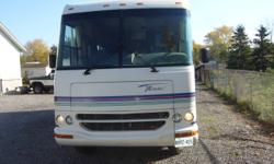 Great running motorhome with lots of extras ,some of the options are onan 4000 watt generator ,roof air, cab air both work ,new tires,new brakes,stainless wheel covers,rubber roof,everthing works perfectley, huge awning ,new spare tire, new queen mattress