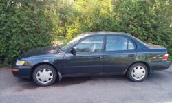 Make Toyota Model Corolla Year 1997 Colour green kms 360000 Trans Manual 1997 Toyota Corolla. Needs front brake pads, rotors and calipers. The car runs great, very solid, was rust checked yearly. Inspected until may 2017. Comes with winter studded tires,