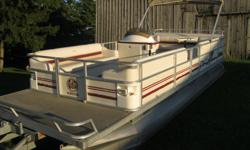 1998 Crest II DL 25' Pontoon Boat w/1998 Mercury Mariner 40hp * 1998 Mercury Mariner 40hp * Power Tilt, dual station * Boat 25 ft long x 8 1/2 ft wide * Deluxe Model * Seats 14, Full Furniture * Furniture is in excellent condition * Dining Table with