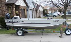 i have a 1998 14'starcraft with a 2 stroke 1996 evinrude 25hp motor with electric start with walleye one battery and two tanks for fuel runs great, winterized every year since i bought it.The boat has a storage compartment and a live well for the fish has