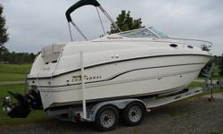 NEW PRICE! 1999 Chaparrel 240 Signature series with 2000 double axle aluminum trailer. 5.7 Mercruiser with 535 hours. Bravo 3 dual stainless steel blades. In great condition, sleeps four, fridge, stove, microwave, bathroom with shower, plus much more