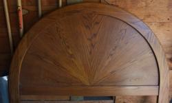 Have 5 piece solid oak bedroom set for sale. Set includes:Semi Circle HeadboardDresserArmoire2 Night StandsFurniture is naturally stained but could be painted as well.Love the pieces just are too big for our current bedroom.