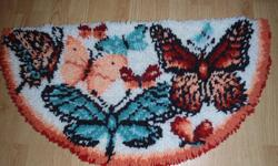 Rug hooked 1/2 moon butterfly rug.  In great condition (small repair needed on back only).  Due to small repair, asking only $5.   P/U north end Barrie near RVH