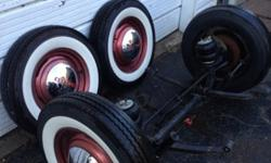 "1947-1953 Chevy Pickup wheels, tires and hub caps. Set of 4. Also 5"" drop axle, 50"" kingpin to KP, Malibu calipers and rotors. Tires are Coker Classics 6.00x15, two tires are *brand new*- also set of Goodyear 6.00x15 whitewalls to fit these wheels, 80%"