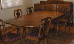 From approx. 1885 this Beautiful Well Kept Dining Suite with Large Table that sits 4 - 10 People. Each end of table slids under the main table.Two Captains Chairs and 4 Hight Back Chairs all with Satin Burgundy Seats. Two Deep Drawers in middle of