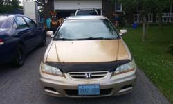 Make Honda Model Accord Coupe Colour Gold Trans Manual kms 342000 Well maintained Honda, drive them forever if you maintain them. Mostly highway miles, car drives great, gets over 750K per $50 fill up. Anti-corrosion system installed but not everything is
